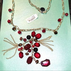 Sparkly red and gold festive necklace